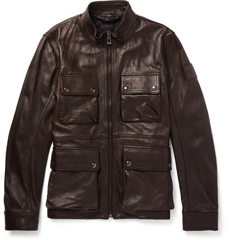 fe41d665be0 BELSTAFF SLIM-FIT LEATHER JACKET, DARK BROWN | ModeSens