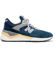 New Balance X90 Mesh-Trimmed Suede Sneakers