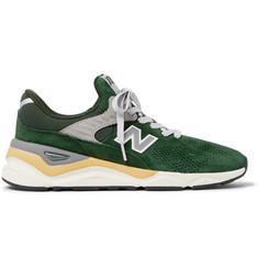 New Balance X90 Suede-Trimmed Mesh Sneakers