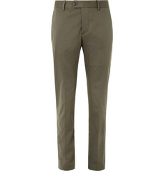Caruso Olive Slim-Fit Stretch-Cotton Twill Suit Trousers