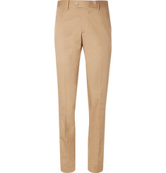 Caruso - Sand Stretch-Cotton Twill Suit Trousers