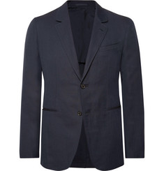 Caruso Midnight-Blue Slim-Fit Unstructured Herringbone Cotton and Linen-Blend Blazer