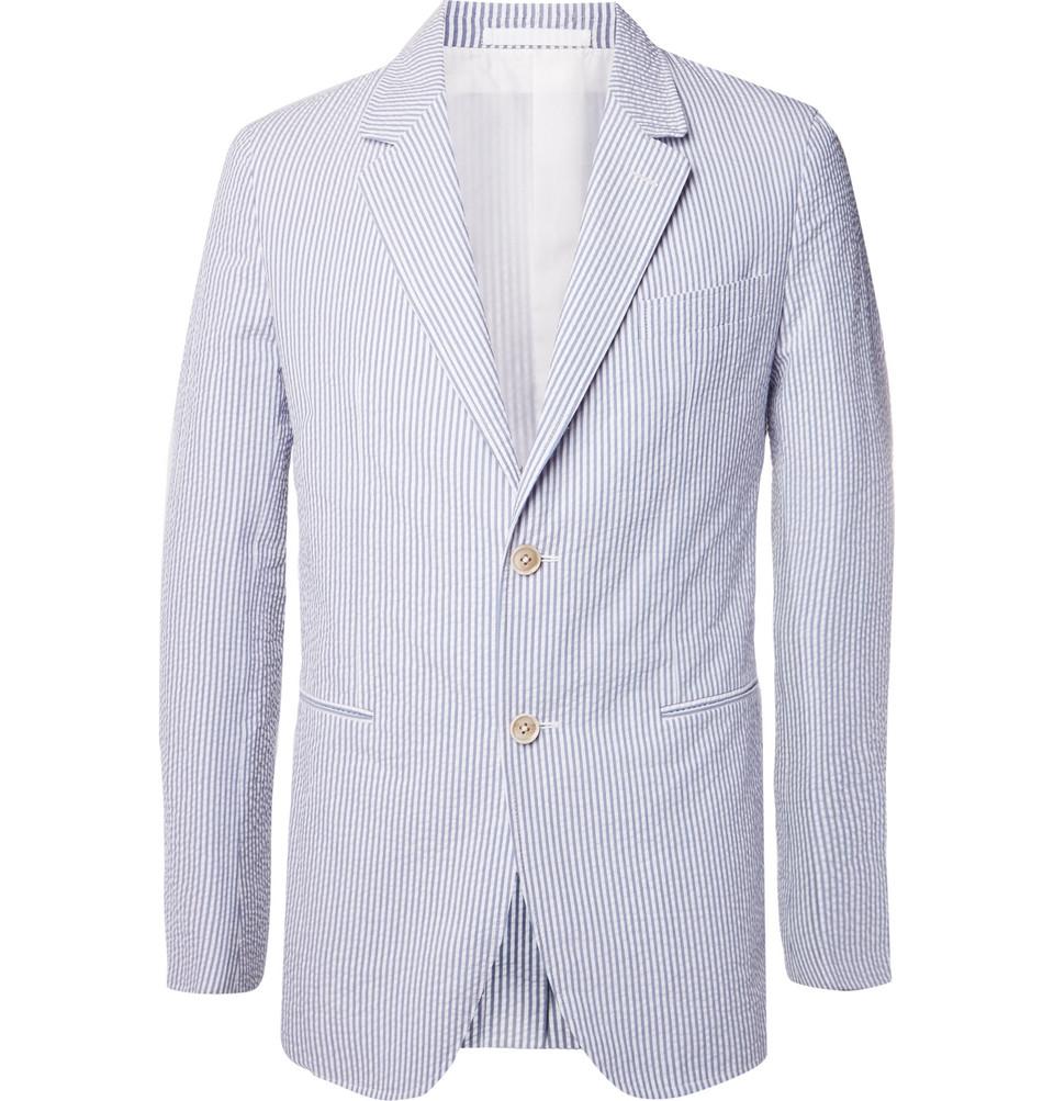 Billede af Blue Butterfly Slim-fit Unstructured Striped Cotton-seersucker Blazer - Blue
