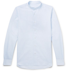 Caruso Grandad-Collar Striped Cotton and Linen-Blend Shirt