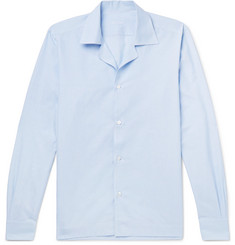 Caruso Camp-Collar Striped Slub Cotton and Linen-Blend Shirt