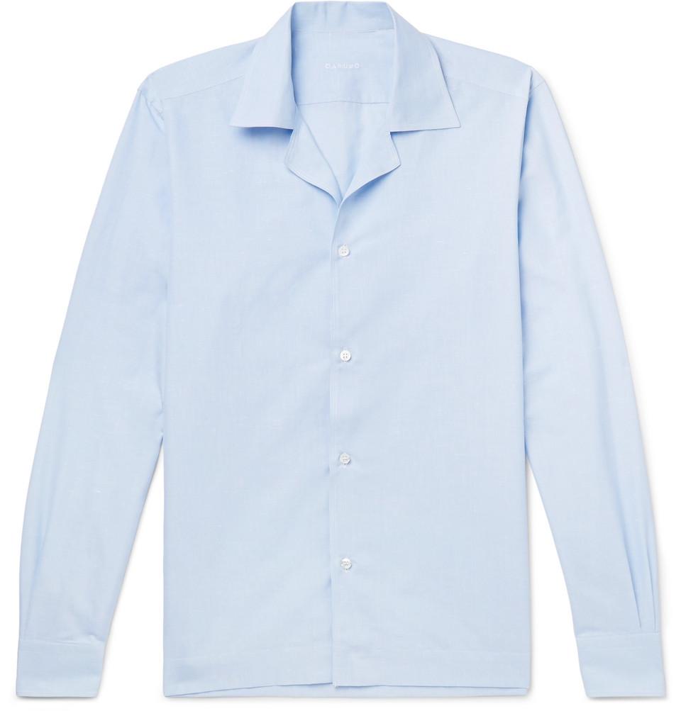 Billede af Camp-collar Striped Slub Cotton And Linen-blend Shirt - Light blue