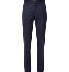 Caruso Navy Slim-Fit Mélange Wool Trousers
