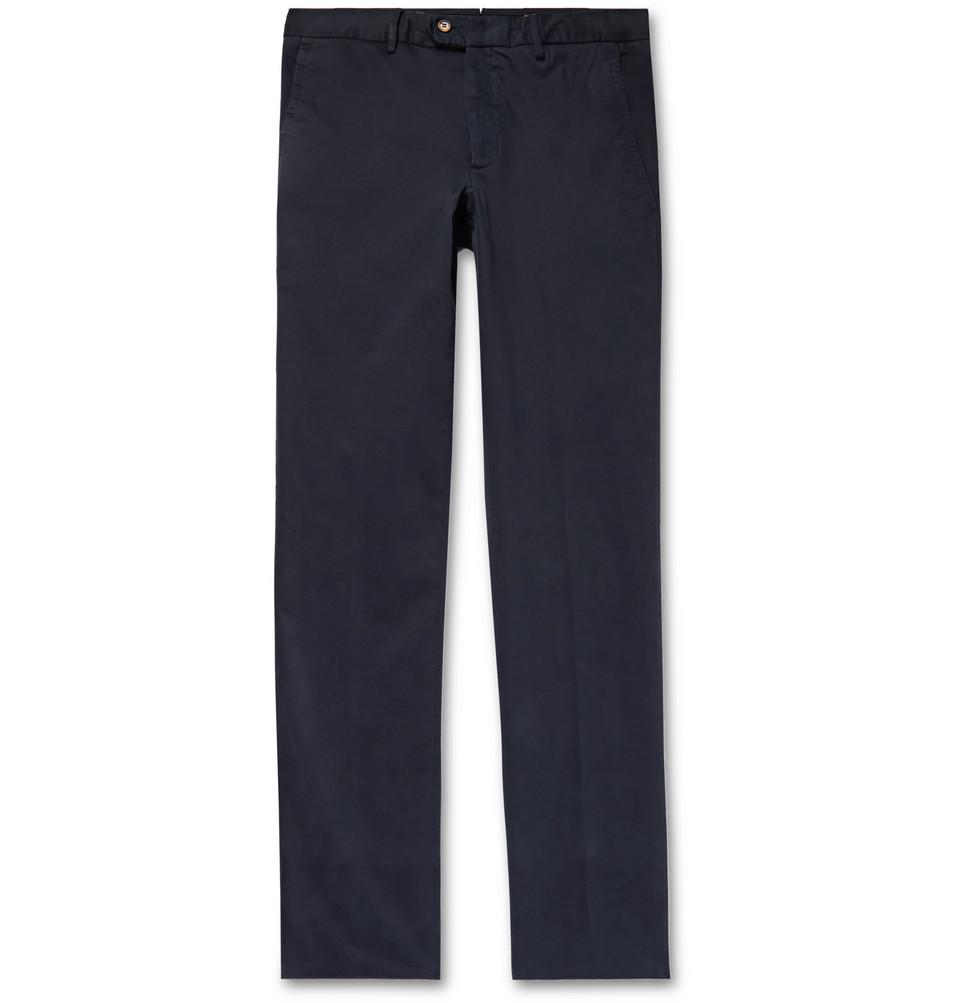 Billede af Brushed Stretch-cotton Trousers - Midnight blue