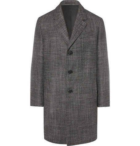 Caruso Prince Of Wales Checked Wool, Silk And Cashmere-blend Coat - Black
