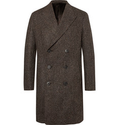 Caruso - Slim-Fit Herringbone Wool-Blend Coat