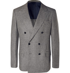 MP Massimo Piombo - Grey Neruda Slim-Fit Double-Breasted Houndstooth Virgin Wool Suit Jacket