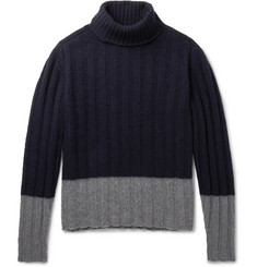 MP Massimo Piombo Colour-Block Ribbed Wool Rollneck Sweater