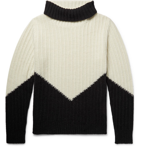 MP MASSIMO PIOMBO Colour-Block Ribbed Wool Mock-Neck Sweater - Black