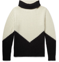 MP Massimo Piombo Colour-Block Ribbed Wool Mock-Neck Sweater