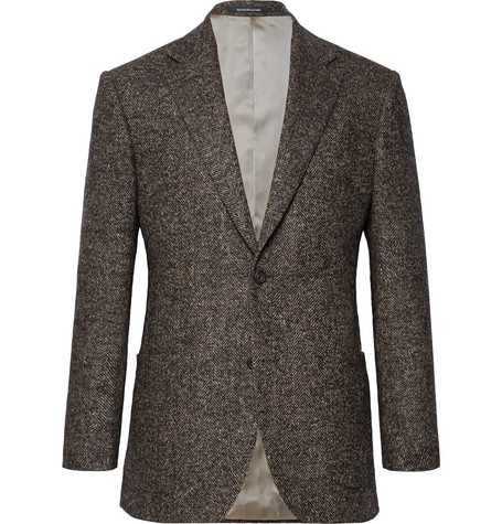Brown Hyde Slim Fit Herringbone Wool Blend Blazer by Richard James