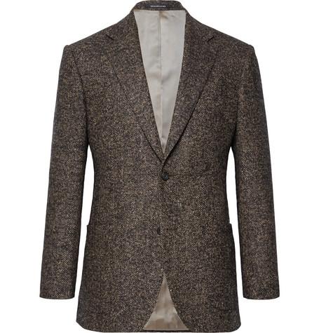 RICHARD JAMES Brown Hyde Slim-Fit Herringbone Wool-Blend Blazer