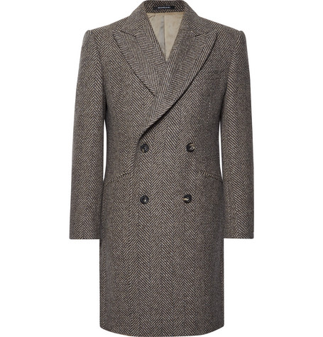 Slim-fit Double-breasted Herringbone Wool Coat - Taupe