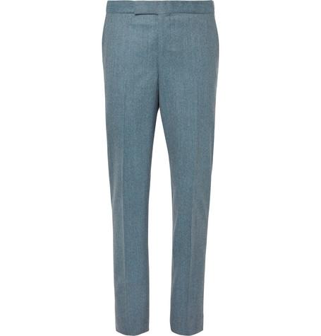 RICHARD JAMES Aqua-Blue Slim-Fit Mélange Wool-Flannel Suit Trousers