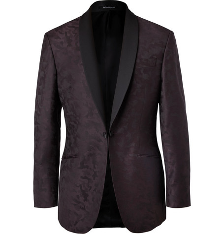 RICHARD JAMES Plum Slim-Fit Camouflage Wool-Jacquard Tuxedo Jacket