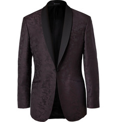 Richard James Plum Slim-Fit Camouflage Wool-Jacquard Tuxedo Jacket