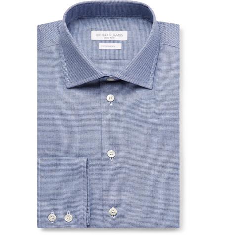 RICHARD JAMES Blue Puppytooth Cotton Shirt