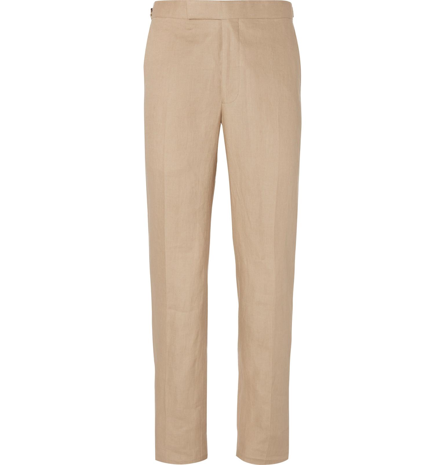 Beige Hyde Slim-fit Linen Suit Trousers Richard James 6cl4Glok