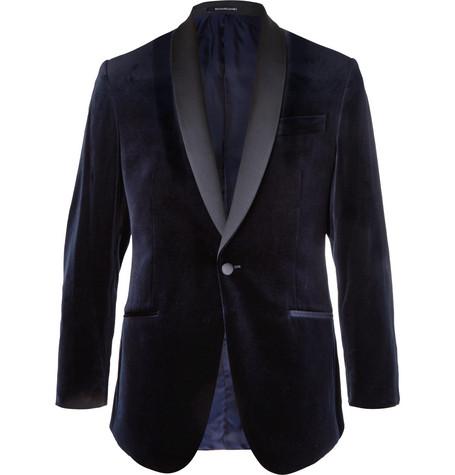 RICHARD JAMES Midnight-Blue Hyde Slim-Fit Satin-Trimmed Cotton-Velvet Tuxedo Jacket