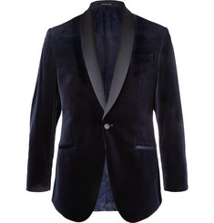 Richard James Midnight-Blue Hyde Slim-Fit Satin-Trimmed Cotton-Velvet Tuxedo Jacket