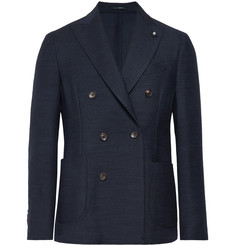 Lardini - Storm-Blue Double-Breasted Wool Blazer