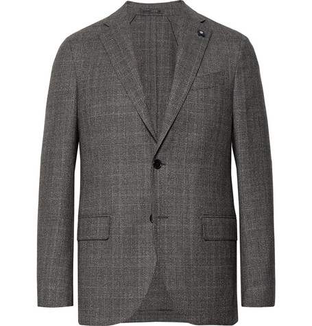 Grey Slim-fit Unstructured Prince Of Wales Checked Stretch-wool Suit