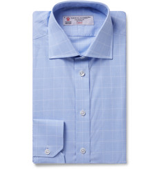 Turnbull & Asser Light-Blue Cutaway-Collar Prince of Wales Checked Cotton-Poplin Shirt