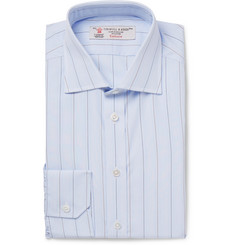 Turnbull & Asser Light-Blue Slim-Fit Cutaway-Collar Striped Cotton-Poplin Shirt