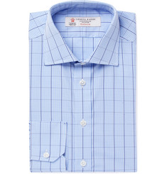 Turnbull & Asser Light-Blue Slim-Fit Cutaway-Collar Checked Cotton-Poplin Shirt
