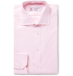 Turnbull & Asser Light-Pink Slim-Fit Cutaway-Collar Herringbone Cotton Shirt
