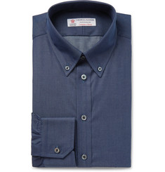 Turnbull & Asser Storm-Blue Slim-Fit Button-Down Collar Cotton and Cashmere-Blend Shirt