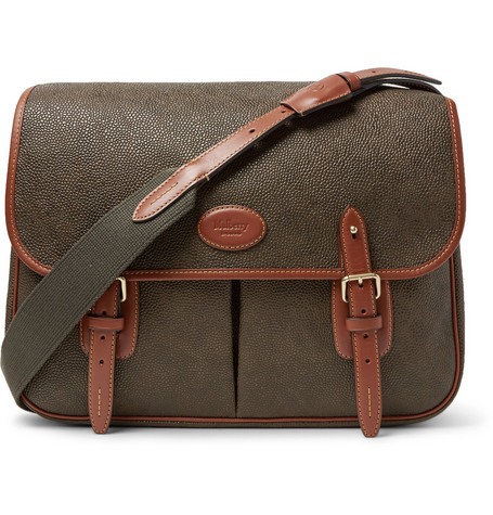 Heritage Leather-trimmed Pebble-grain Coated-canvas Messenger Bag thumbnail