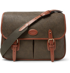 Mulberry Heritage Leather-Trimmed Pebble-Grain Coated-Canvas Messenger Bag