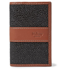 Mulberry Leather-Trimmed Pebble-Grain Coated-Canvas Cardholder