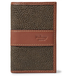 Mulberry Leather-Trimmed Pebble-Grain Coated-Canvas Bifold Cardholder