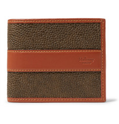 Mulberry Leather-Trimmed Pebble-Grain Coated-Canvas Billfold Wallet