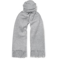 Mulberry Fringed Mélange Wool Scarf