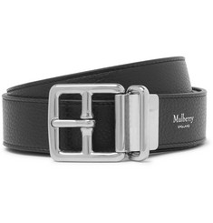 Mulberry 3cm Black and Brown Reversible Pebble-Grain Leather Belt