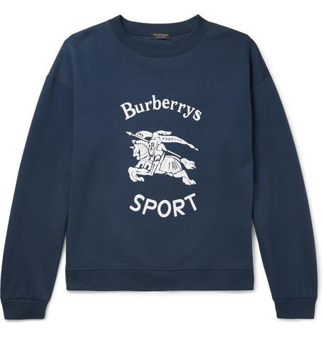 Flocked Fleece Back Cotton Blend Jersey Sweatshirt by Burberry