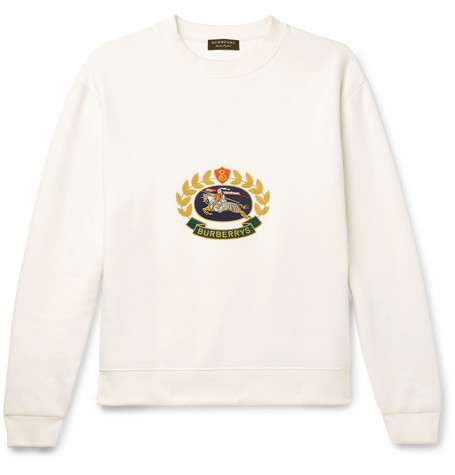 Embroidered Fleece Back Cotton Blend Jersey Sweatshirt by Burberry