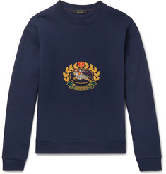 Burberry Embroidered Fleece-Back Cotton-Blend Jersey Sweatshirt