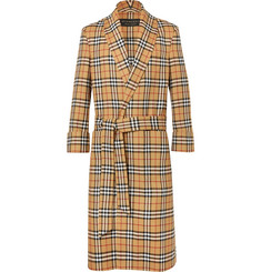 Burberry Belted Checked Wool Coat