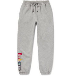 Burberry Appliquéd Mélange Fleece-Back Cotton-Blend Jersey Sweatpants