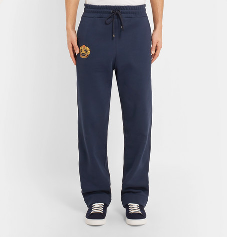 Embroidered Fleece Back Cotton Blend Jersey Sweatpants by Burberry
