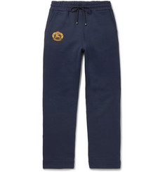 Burberry Embroidered Fleece-Back Cotton-Blend Jersey Sweatpants