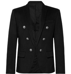 Balmain Black Slim-Fit Cashmere Blazer